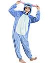 Vuxna Halloween Rekvisita Kigurumi-pyjamas Tecknat Blått Monster Onesie-pyjamas Flanell Blå Cosplay För Herr och Dam Pyjamas med djur Tecknad serie Festival / högtid Kostymer