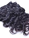 Klämma in Människohår förlängningar Kroppsvågor Äkta hår Hårförlängningar av äkta hår Brasilianskt hår Dam Svart