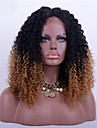 Remy-hår Halvnät utan lim Spetsfront Peruk Rihanna stil Brasilianskt hår Kinky Curly Nyans Peruk 180% Hårtäthet med babyhår Ombre-hår Naturlig hårlinje Afro-amerikansk peruk 100 % handbundet Dam