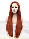 Syntetiska snörning framifrån Rak Rak Middle Part Spetsfront Peruk Mellan Lång Kastanjebrun Syntetiskt hår 18-26 tum Dam Värmetåligt Naturlig hårlinje Röd