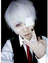 Tokyo Ghoul Ken Kaneki Cosplay-peruker Herr 10 tum Silver Animé