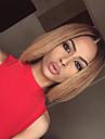 Äkta hår Helnät utan lim Hel-spets Peruk Bob-frisyr Rihanna stil Brasilianskt hår Rak Nyans Peruk 130% Hårtäthet med babyhår Ombre-hår Naturlig hårlinje Afro-amerikansk peruk 100 % handbundet Dam