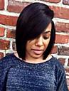 Äkta hår Halvnät utan lim Spetsfront Peruk Bob-frisyr Sidolugg stil Brasilianskt hår Rak Peruk 130% Hårtäthet med babyhår Naturlig hårlinje Afro-amerikansk peruk 100 % handbundet Dam Korta Mellan