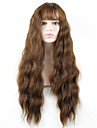 Syntetiska peruker Vågigt Vågigt Med lugg Monofilament L-formad hätta Peruk Lång Beige Syntetiskt hår Dam Brun