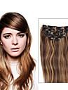 Klämma in Människohår förlängningar Rak Äkta hår Hårförlängningar av äkta hår Mellanbrun / Rödlätt