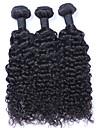 3 paket Brasilianskt hår Lockigt Curly Weave Äkta hår Human Hår vävar Hårförlängning av äkta hår Människohår förlängningar / 8A