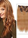 Klämma in Människohår förlängningar Rak Äkta hår Hårförlängningar av äkta hår Dam Jordgubbsblont