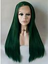 Syntetiska snörning framifrån Rak Rak Spetsfront Peruk Mellan Lång Grön Syntetiskt hår Dam Naturlig hårlinje Sidodel Brun