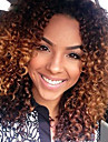 Obehandlad hår Halvnät utan lim Peruk Middle Part Kardashian stil Peruanskt hår Kinky Curly Kastanjebrun Nyans två tonig Peruk 150% Hårtäthet 10-26 tum med babyhår Ombre-hår Naturlig hårlinje