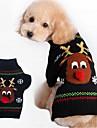 Hund Kappor Tröjor Vinter Hundkläder Svart Röd Kostym Cotton Tecknat Ledigt / vardag Mode Jul XXS XS S M L XL