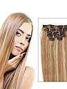 Klämma in Människohår förlängningar Rak Äkta hår Hårförlängningar av äkta hår Dam Rödlätt / Blekt Blont