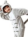 Barn Kigurumi-pyjamas Animé Totoro Onesie-pyjamas Flanell Grå Cosplay För Pojkar och flickor Pyjamas med djur Tecknad serie Festival / högtid Kostymer
