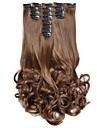 Hårstycke Lockigt Vågigt Klassisk Syntetiskt hår HÅRFÖRLÄNGNING Klämma in Dagligen