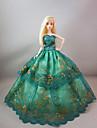 Dollklänning Fest / afton För Barbie Blommig Botanisk Satin / tyll Spets Satin Klänning För Flicka Dockleksak
