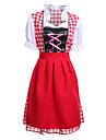 Oktoberfest Dirndl Trachtenkleider Dam Klänning Mer accessoarer Bavarian Kostym Röd