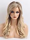 Mänskligt hår Peruk Lång Vågigt Frisyr i lager Med lugg Vågigt Nyans Sidodel Maskingjord Dam Gul