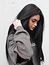 Syntetiska snörning framifrån Rak Kardashian Stil Sidodel Monofilament / L-formad hätta / Spetsfront Peruk Svart Svart Syntetiskt hår Dam Silkig / Värmetåligt / Naturlig hårlinje Svart Peruk Lång