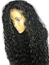 Äkta hår Spetsfront Peruk Rihanna stil Brasilianskt hår Lockigt Svart Peruk 130% Hårtäthet 8-24 tum med babyhår Naturlig hårlinje limfria Dam Korta Mellan Lång Äkta peruker med hätta ELVA HAIR