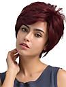 Mistura do cabelo humano Peruca Liso Classico Penteados Curtos 2020 Berry Classico Reto Fabrico a Maquina Vermelho Diario