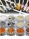 12st / 1set Glitter Paljetter Till Fingernageö Tånagel Ljusglimmer nagel konst manikyr Pedikyr Elegant & Lyxig / Glitter och glans Fest / Kväll / Dagligen / Smekmånad