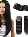 Febay Brasilianskt hår 4x4 Stängning Rak Fria delen / Mittparti / 3 Del Schweizisk spetsperuk Remy-hår Dam Dagligen / Natur Svart