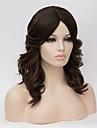 Syntetiska peruker Vågigt Vågigt Asymmetrisk frisyr Peruk Mellan Mörk Rödbrun Syntetiskt hår Dam Naturlig hårlinje Svart