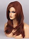 Syntetiska peruker Vågigt Naturligt vågigt Naturligt vågigt Med lugg Peruk Lång Mörkröd Syntetiskt hår Dam Röd MAYSU