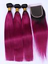Brasilianskt hår Rak Äkta hår Hår Inslag med Stängning Nyans Hårförlängning av äkta hår Människohår förlängningar