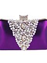 Dam Strass / Pärldetaljer Polyester Aftonväska Rhinestone Crystal Evening Bags Svart / Silver / Purpur