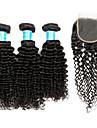 3 paket med stängning Brasilianskt hår Kinky Curly Äkta hår Human Hår vävar 8-30 tum Hårförlängning av äkta hår Människohår förlängningar / Sexigt Lockigt