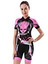 cheji® Dam Kortärmad Cykeltröja med shorts Rosa Cykel Träningsdräkter 3D Tablett Snabb tork sporter Målning Bergscykling Vägcykling Kläder