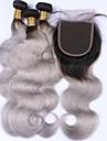 Malaysiskt hår Kroppsvågor Äkta hår Hår Inslag med Stängning Hårförlängning av äkta hår Människohår förlängningar