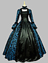 Rokoko Victoriansk 18th Century Klänningar Dam Flickor Satin Kostym Blå Vintage Cosplay Party Bal Ärmlös Golvlång Balklänning
