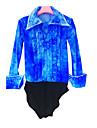21Grams Topp för konståkning Herr Pojkar Skridskor Skjorta Azure Elastan Hög Elasisitet Tävling Skridskoplagg Handgjord Enfärgad Långärmad Skridskoåkning Konståkning