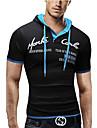 Per uomo maglietta Camicia Pop art Alfabetico Manica corta Quotidiano Top Cotone Con cappuccio Blu Blu Reale Nero