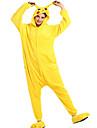 Vuxna Halloween Rekvisita Semestersmycken Kigurumi-pyjamas pika pika Onesie-pyjamas Flanell Gul Cosplay För Herr och Dam Pyjamas med djur Tecknad serie Festival / högtid Kostymer