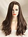 Syntetiska snörning framifrån Vågigt Vågigt Spetsfront Peruk Lång Beige Syntetiskt hår Dam Brun Uniwigs