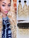 3 paket med stängning Brasilianskt hår Vågigt Remy-hår Nyans Nyans Hårförlängning av äkta hår Människohår förlängningar