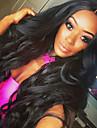 Syntetiska peruker Vågigt Kardashian Stil Utan lock Peruk Svart Svart Syntetiskt hår Dam Svart Peruk Lång