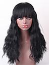 Mänskligt hår Peruk Lång Vågigt Vågigt Heta Försäljning Maskingjord Dam Svart Medium Rödbrun