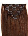 Febay Klämma in Människohår förlängningar Klassisk Äkta hår Hårförlängningar av äkta hår Dam Mellanbrun
