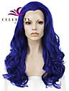 Syntetiska snörning framifrån Vågigt Vågigt Spetsfront Peruk Lång Blå Syntetiskt hår Dam Naturlig hårlinje Mittbena Blå