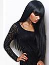 Syntetiska peruker Rak Kardashian Stil Med lugg Utan lock Peruk Svart Svart Syntetiskt hår 24 tum Dam Med Bangs Svart Peruk Lång