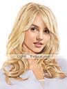 Mänskligt hår Peruk Lång Vågigt Vågigt Sidodel Maskingjord Dam Svart Honung Blond Medium Rödbrun 22 tum