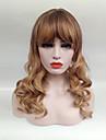 Syntetiska peruker Vågigt Vågigt Med lugg Peruk Blond Mellan Svart / Rödlätt Syntetiskt hår Dam Blond
