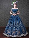 Vintage Rokoko Victoriansk 18th Century Klänningar Festklädsel Maskerad Dam Tyll Spets Kostym Blå Vintage Cosplay Ärmlös Golvlång