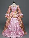 Rokoko Victoriansk Kostym Dam Festklädsel Maskerad Rosa Vintage Cosplay Elastiskt vävd siden Satin Långärmad Golvlång / Blommig