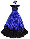 Vintage Gotiskt Victoriansk Medeltida kostymer 18th Century Klänningar Festklädsel Maskerad Dam Satin Kostym Blå Vintage Cosplay Party Bal Ärmlös Golvlång Balklänning Plusstorlekar Anpassad