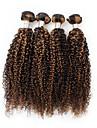 4 paket Peruanskt hår Lockigt Äkta hår Nyans Hårförlängning av äkta hår Människohår förlängningar