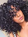 Äkta hår Halvnät utan lim Spetsfront Peruk Bob-frisyr Frisyr i lager Med lugg stil Brasilianskt hår Kinky Curly Peruk 130% Hårtäthet med babyhår Mörka hårrötter Naturlig hårlinje 100% Jungfru